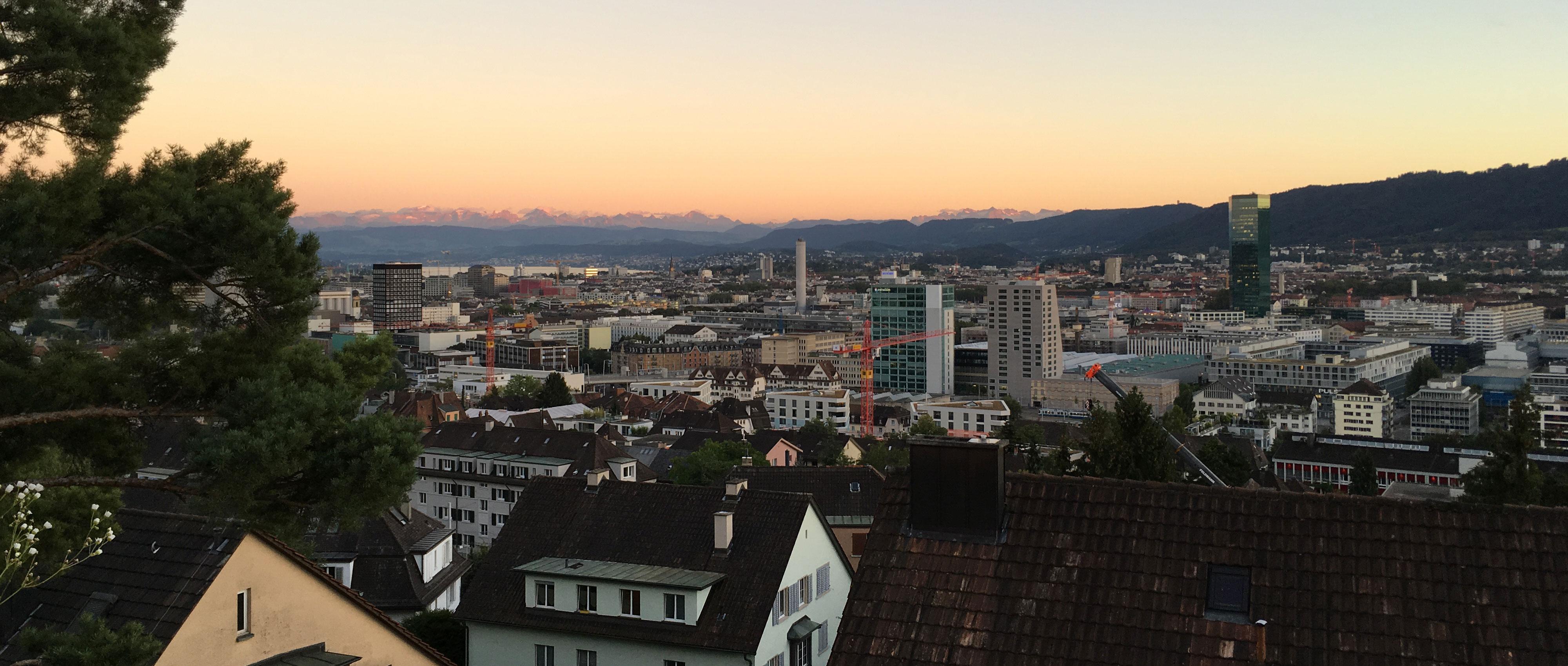 Zürich skyline mountains